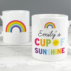 Personalised Happy Rainbow Bone China Mug