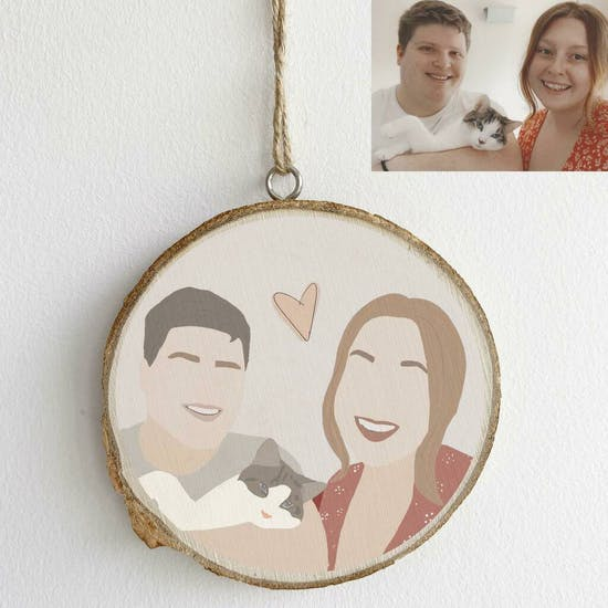 Personalised Portrait Illustration Decoration in Natural Wood