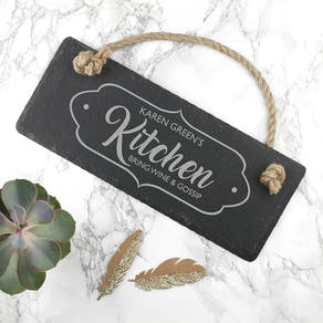Personalised Our Kitchen Slate Hanging Sign