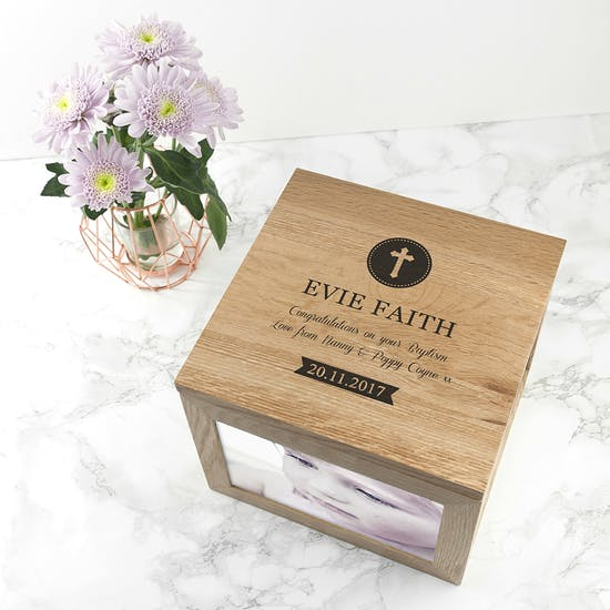 Personalised Large Oak 'Christening' Keepsake Box