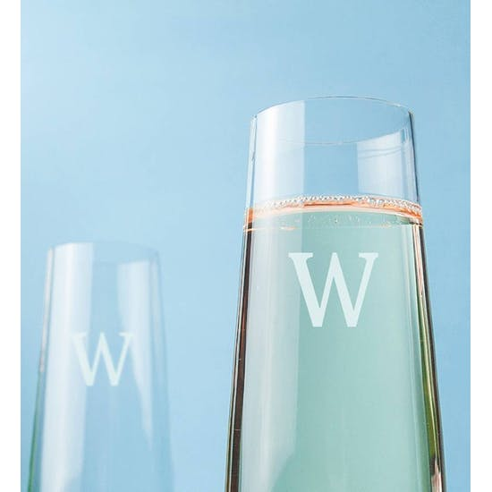 Personalised L.S.A Monogram Champagne Flutes