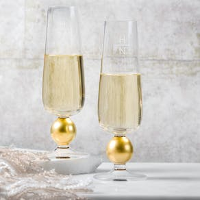 Personalised LSA Monogram Champagne Flutes