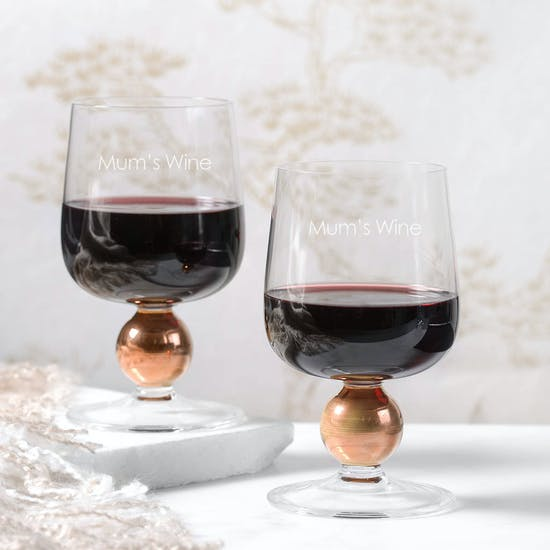 Personalised L S A Two Red Wine Glasses