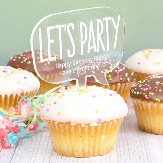 Personalised 'Lets Party' Cake Topper