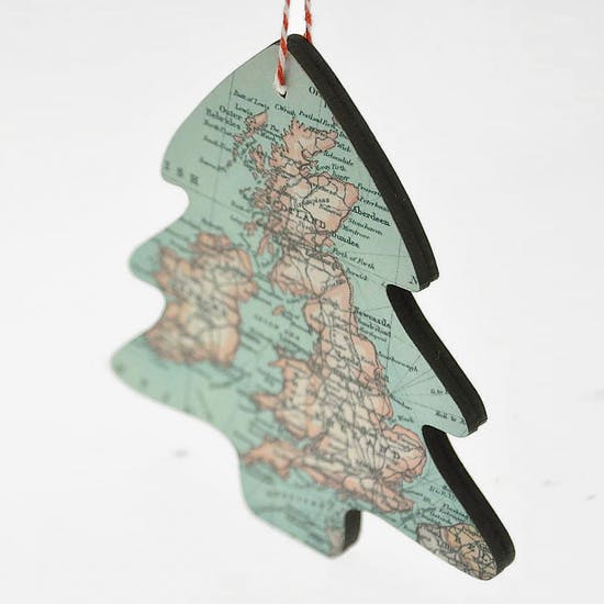 Personalised Map Christmas Hanging Decoration