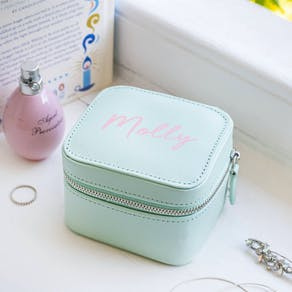 Personalised Mint Square Jewellery Case