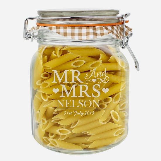 Personalised 'Mr And Mrs' Glass Kilner Jar