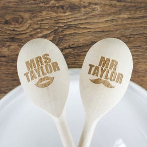 Personalised 'Mr And Mrs' Wooden Spoons