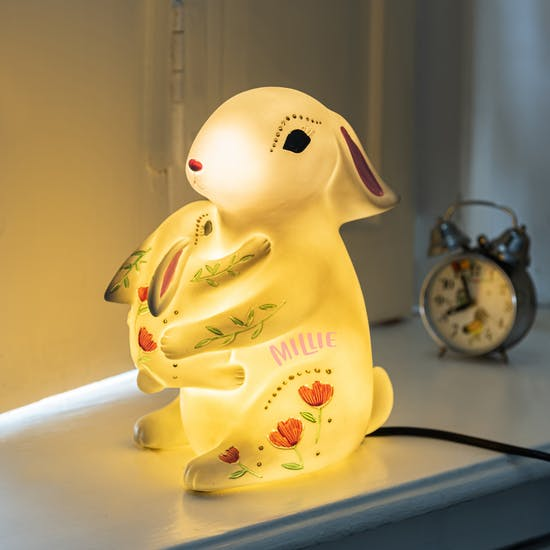 Personalised Mother And Baby Rabbit Lamp