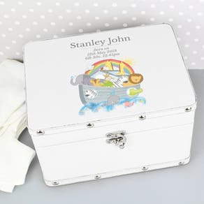 Personalised Noah's Ark White Keepsake Box
