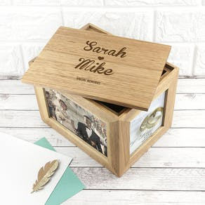 Personalised Name And Heart Photo Cube Keepsake