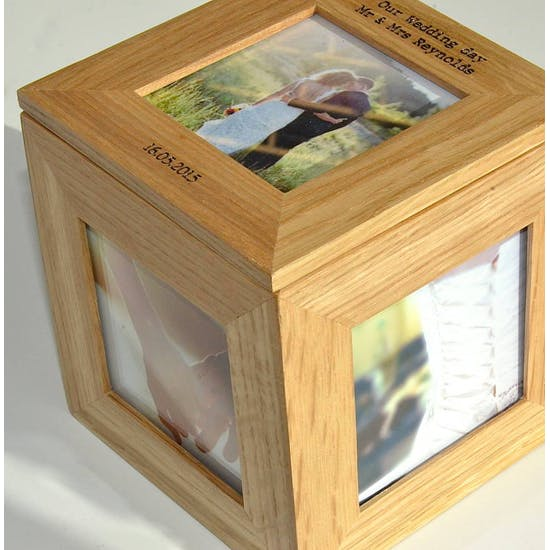 Personalised Oak Wedding Photo Cube