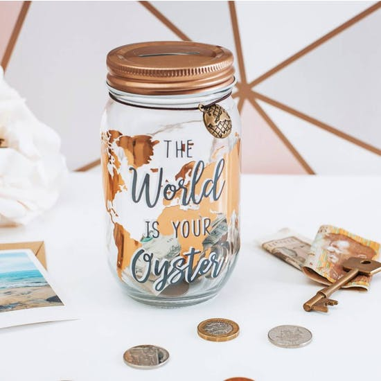 Personalised World Is Your Oyster Savings Jar