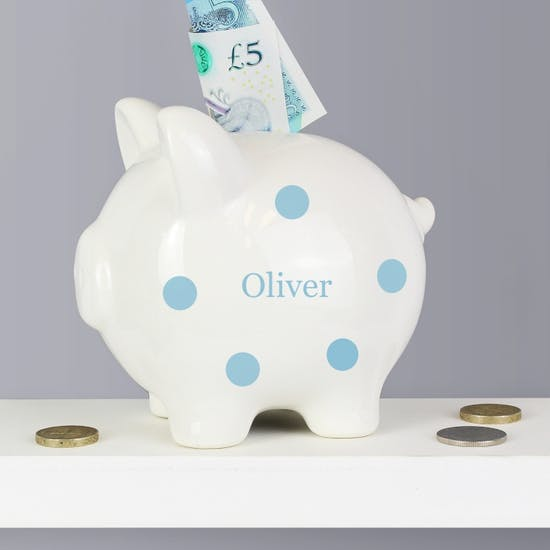 Personalised Polkadot Piggy Bank