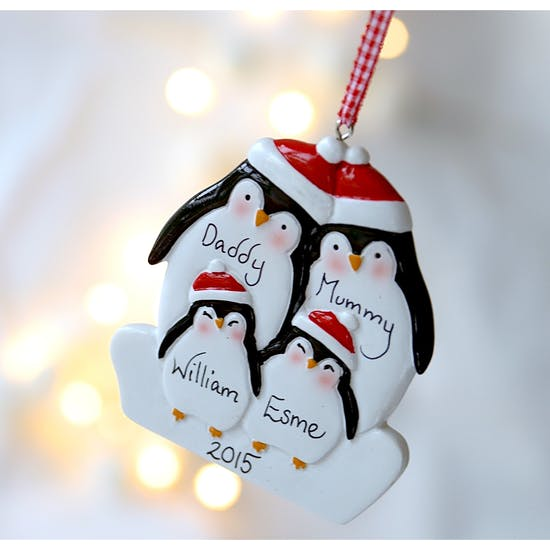 Personalised Penguin Family Decoration