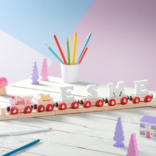 Personalised Pink And White Name Train