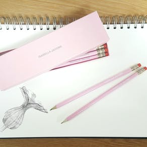 Personalised Pink And Silver Gift Boxed Pencils