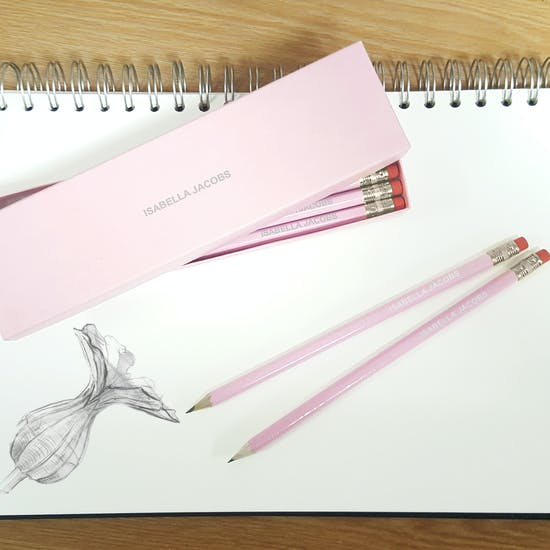 Personalised Pink And Gold Gift Boxed Pencils