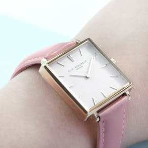 Personalised Pink Square Leather Watch