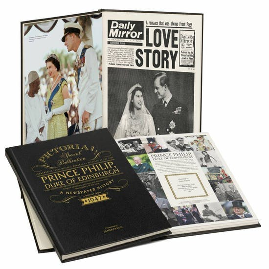 Personalised Prince Philip Leather Biography Book