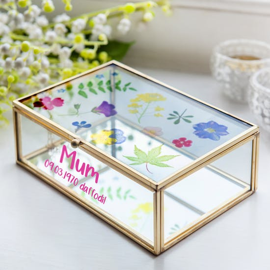 Personalised Pressed Flowers Jewellery Box