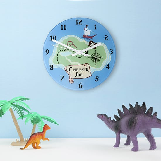 Personalised Pirate Clock with toy dinosaurs