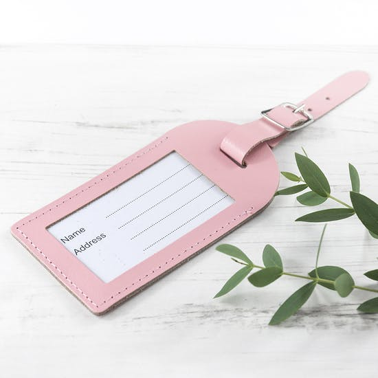 Personalised Pastel Leather Luggage Tag