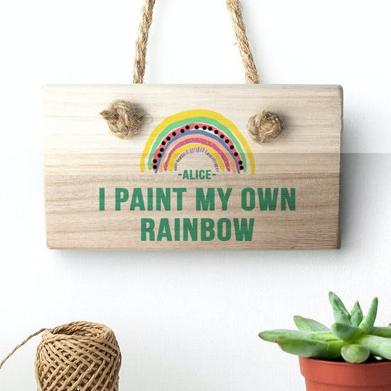 Personalised Rainbow Wooden Hanging Sign