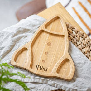 Personalised Rocket Bamboo Plate