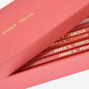 Personalised Red And Silver Gift Boxed Pencils