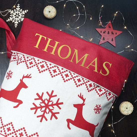 Personalised Red And Gold Christmas Sack