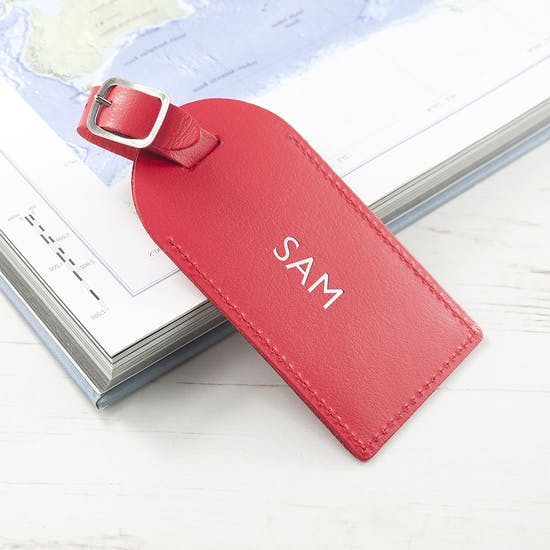Personalised Luxury Red Leather Luggage Tag