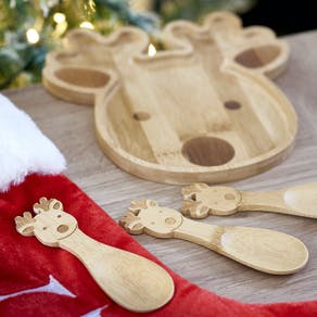 Personalised Reindeer Bamboo Plate Set