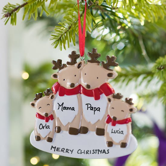Personalised Reindeer Family Decoration