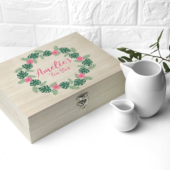Personalised Rainforest Wreath Tea Box For Her