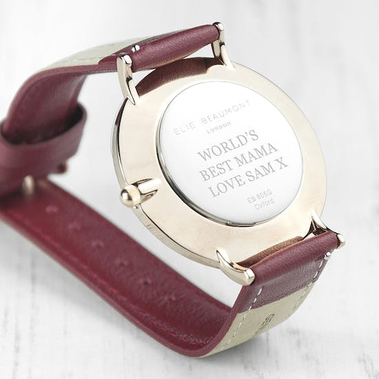 Personalised Rose Gold And Berry Red Watch
