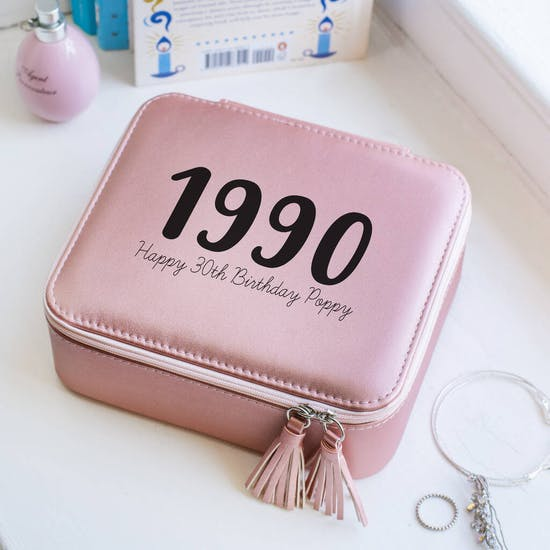 Personalised Rose Gold Big Year Jewellery Case