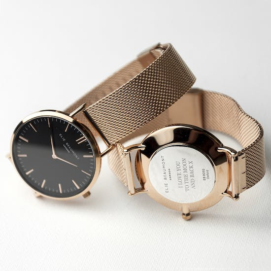 Personalised Rose Gold Mesh Watch