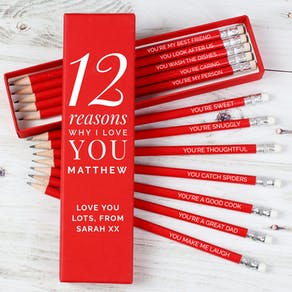 Personalised 12 reasons I Love You Pencils