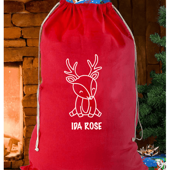 Personalised Retro Reindeer Christmas Sack