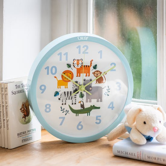 Personalised Safari Animal Childs Clock