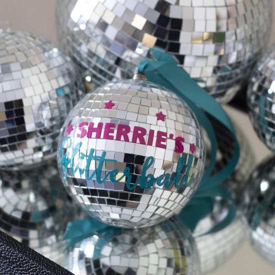 Personalised Silver Glitter Ball
