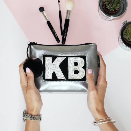 Personalised Silver Make Up Bag