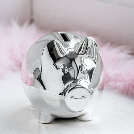 Personalised Silver Plated Piggy Money Box