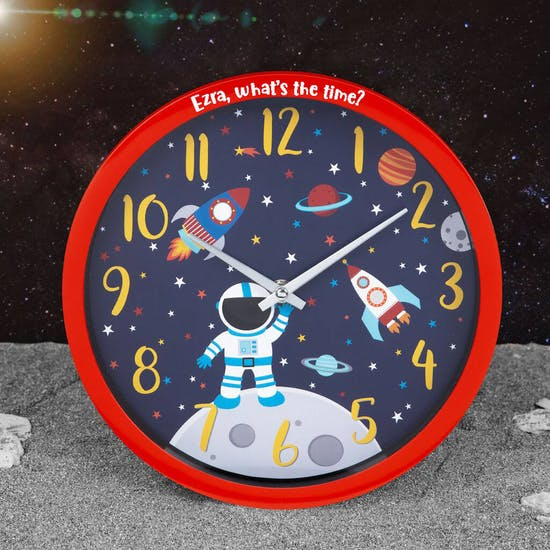 Personalised Space Explorer Astronaut Wall Clock