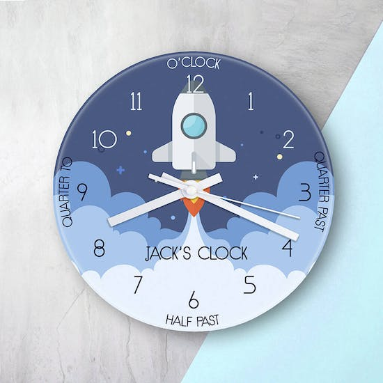 Personalised Space Shuttle Glass Clock