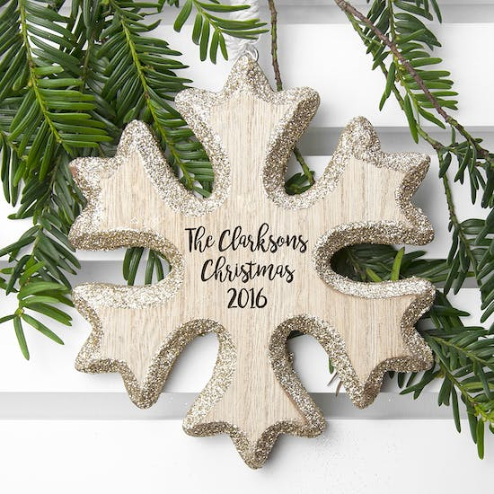 Personalised Sparkling Snow Flake Christmas Decoration