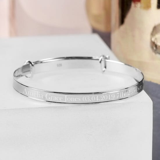 Personalised Sterling Silver Expanding Bracelet