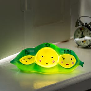 Personalised Three Peas In A Pod LED Light
