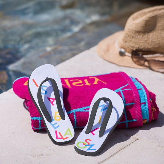 Personalised Tumble Name Flip Flops
